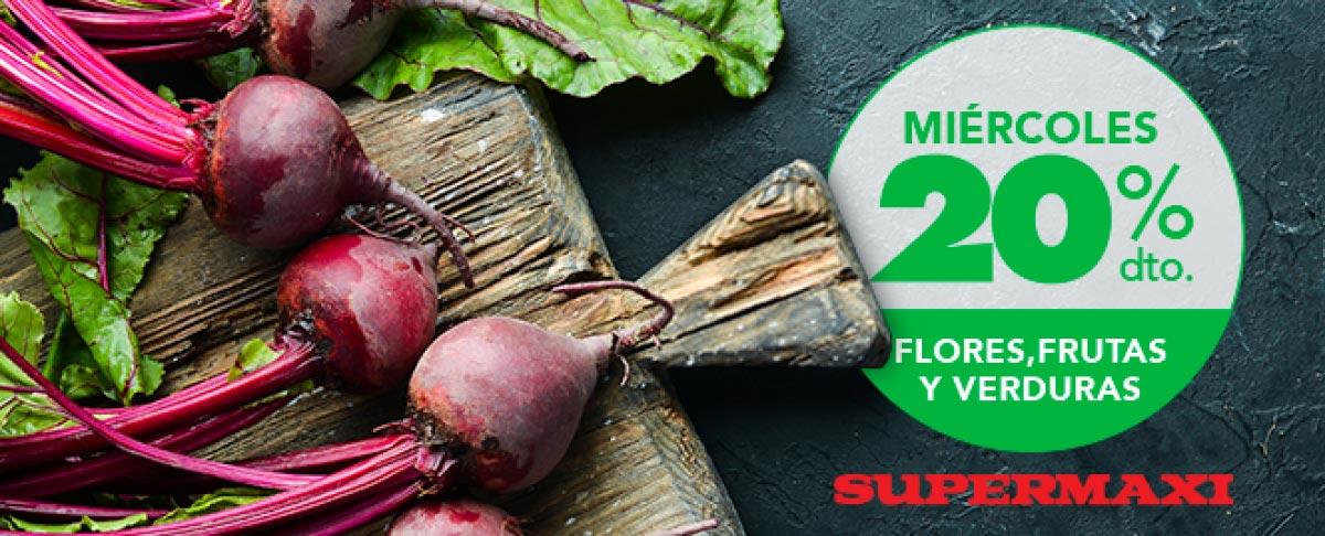 Miércoles 20% dto. en frutas, verduras y flores.
